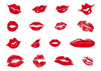 set di baci e labbra femminili