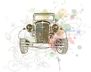 retro auto sketch & floral calligraphy ornament