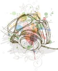 sketch of headphones & color paint background