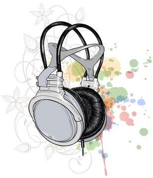 headphones & floral ornament - a stylized orchid, color paint