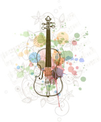 Violin, music sheets & color paint floral background