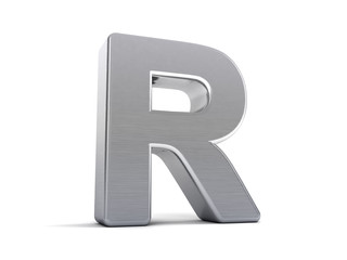 Letter R as brushed metal object over white