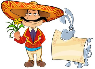 Mexican with a flower and a donkey.