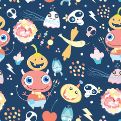 Seamless pattern of gay ghosts and monsters
