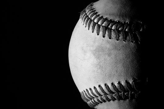 Black and white partial baseball