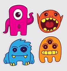 Aluminium Prints Creatures cute little monsters sticker v1