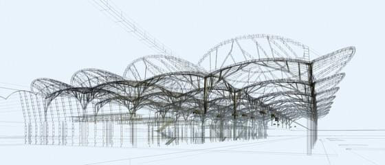 strutture progetto illustrazione rendering 3d