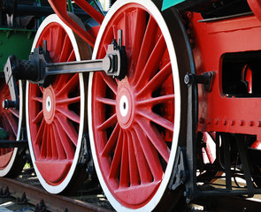 Wheel detail from an old steam locomotive