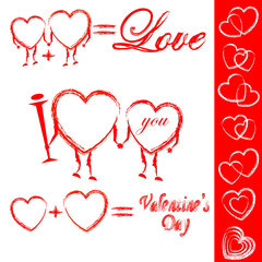 Valentines hearts set. Vector illustration