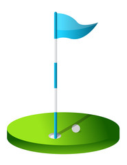 Drawing of a Golf Hole illustration isolated over white