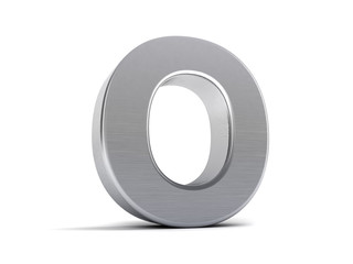 Letter O as brushed metal object over white