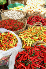 Chilis at street market in Saigon, Vietnam