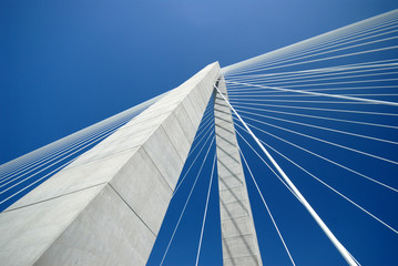 In de dag Brug Detail of Arthur Ravenel Bridge in Charleston SC