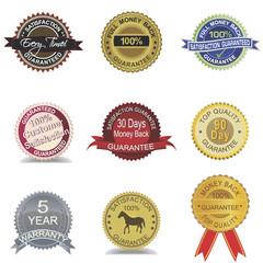 Set of 9 money back guarantee seals