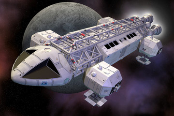 spaceship eagle and moon