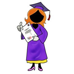Silhouette-woman graduating from school