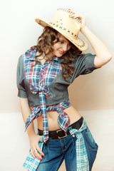 "The beautiful girl in a jeans suit. Style ""country"""