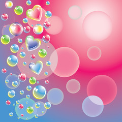 Romantic background with color bubbles and hearts