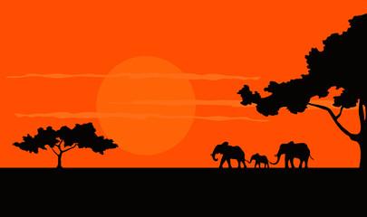 Cartoon illustration of the African Safari sunset
