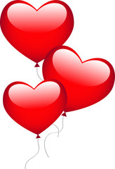 Trois ballons en forme de coeur