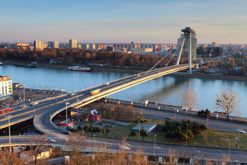 Bratislava overview and new bridge