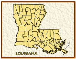 Louisiana USA state map seal emblem federal america
