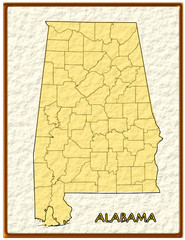 Alabama USA state map seal emblem federal america