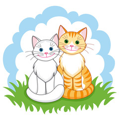 Deurstickers Katten Cats in love