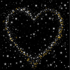 heart of the white and gold stars in the night sky