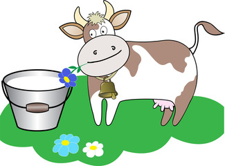 cow chewing a flower beside a bucket of milk on a green lawn