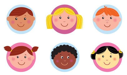 Cute diversity kids icons or buttons - pink and blue. VECTOR