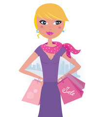 Happy blond woman on shopping in the city. VECTOR