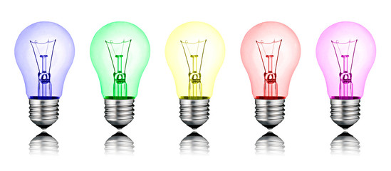 Different New Ideas - Row of Colored Lightbulbs Isolated