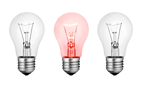 Red Hot Concept Idea - White and Red Lightbulb Isolated