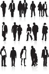 people silhouette set