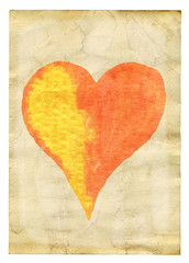 heart over old paper