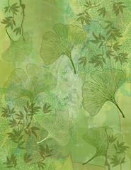 Wall Mural - Fond Feuillage Bambou et Feuilles Ginkgo en Vert - Illustration