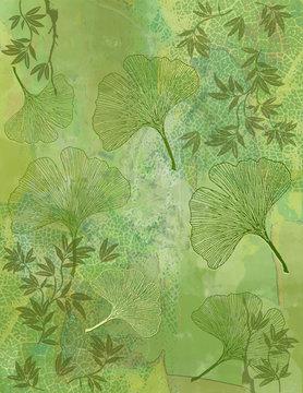 Fond Feuillage Bambou et Feuilles Ginkgo en Vert - Illustration