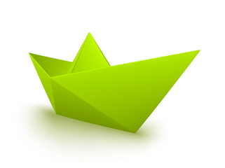 vector green origami boat