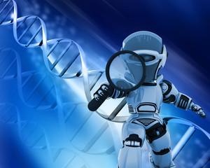 Robot with magnifying glass on DNA background