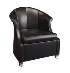Comfy black leather armchair