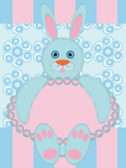 Greeting card with funny rabbit