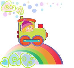 Cartoon boy on the rainbow