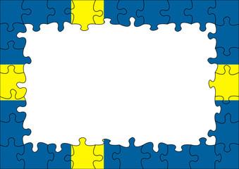 Sweden flag puzzle border