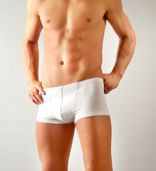 attractive male body with white underwear