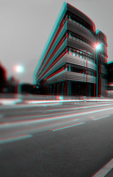3D anaglyph of office building