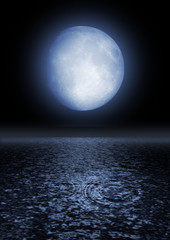 Full moon on the sky image over water