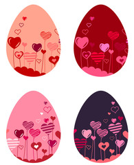 Set of different pretty spring easter eggs