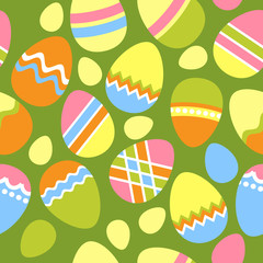 Seamless spring green pattern with easter eggs