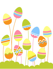 Stylized growing easter eggs on green grass